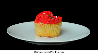 Isolated Red Cupcake on Plate