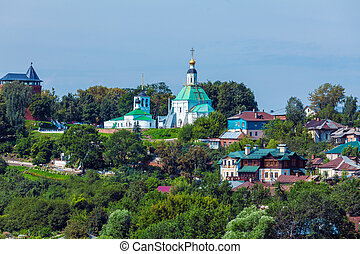 Small Houses and Orthodox Church at Vladimir City, Russia