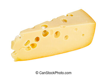 Sector part of yellow cheese. Close-up. Isolated on white...