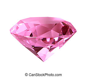 Singe pink crystal diamond. Close-up. Isolated on white...
