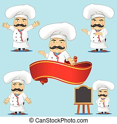 set of cooks in different poses, with different objects for advertising and for animation