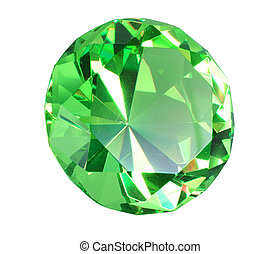 Singe green crystal diamond. Close-up. Isolated on white...