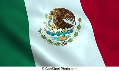 Realistic Mexican flag waving in the wind. Seamless looping.