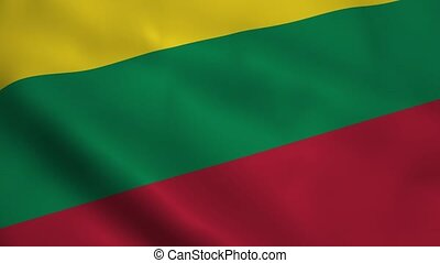 Realistic Lithuanian flag waving in the wind. Seamless...