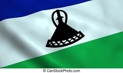 Realistic Lesotho flag waving in the wind Seamless looping