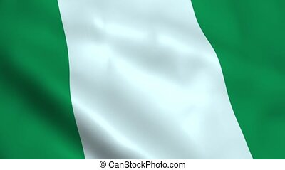 Realistic Nigerian flag waving in the wind. Seamless...
