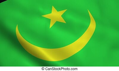 Realistic Mauritania flag waving in the wind. Seamless...
