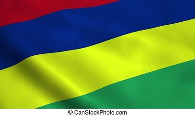 Realistic Mauritius flag waving in the wind Seamless looping...