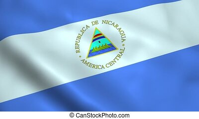 Realistic Nicaragua flag waving in the wind Seamless looping...