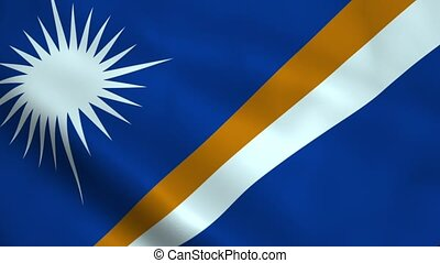 Realistic Marshall Islands flag waving in the wind. Seamless...