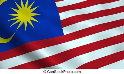 Realistic Malaysia flag waving in the wind Seamless looping...
