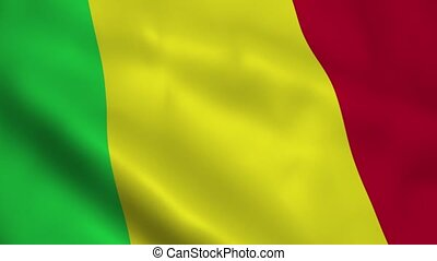 Realistic Mali flag waving in the wind. Seamless looping.