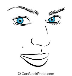 Vector girl face outline with blue eyes