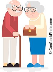 Old Couple Happy Characters Love Together Adult Icon Flat...