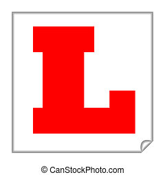 Learner sign - Driving learner sign or plate, isolated on a...