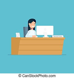 Smiling secretary sitting at a computer in the reception. Happy woman waits for customers at the workplace. Vector character in flat style isolated on blue background.