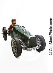 Vintage race car - vintage toy race car with mustache driver