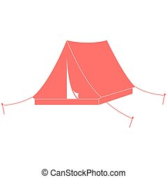 Stylized icon of a colored tourist tent on a white...