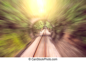 Motion toward the tunnels - Blurred motion toward the...