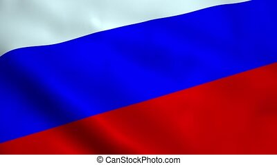 Realistic Russian flag waving in the wind. Seamless looping.