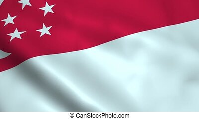 Realistic Singapore flag waving in the wind. Seamless...