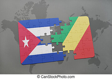 puzzle with the national flag of cuba and republic of the...