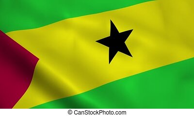 Realistic Sao Tome and Principe flag waving in the wind....