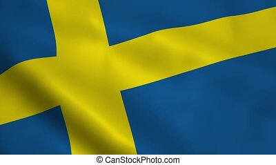 Realistic Swedish flag waving in the wind. Seamless looping.