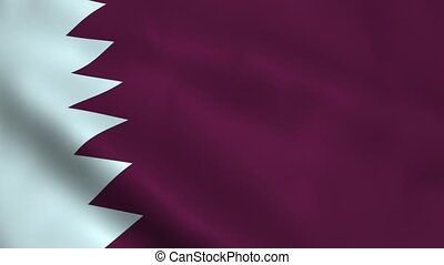 Realistic Qatar flag waving in the wind. Seamless looping.