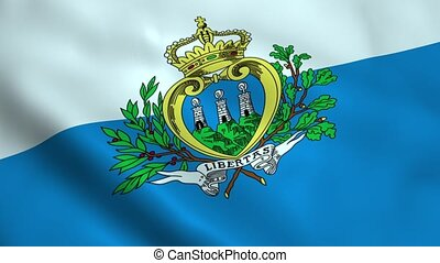 Realistic San Marino flag waving in the wind. Seamless...