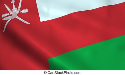 Realistic Oman flag waving in the wind. Seamless looping.