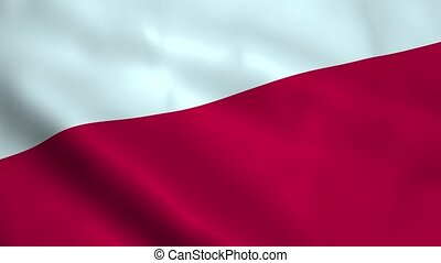 Realistic Polish flag waving in the wind. Seamless looping.