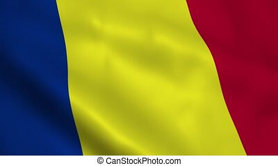 Realistic Romanian flag waving in the wind. Seamless...