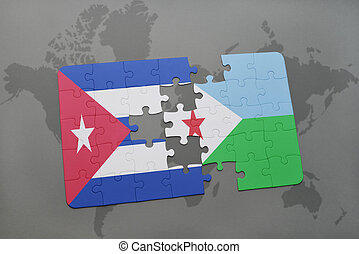 puzzle with the national flag of cuba and djibouti on a world map background.