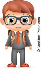 School Backpack Boy Suit Tie Child Cartoon Icon Education Character 3d Realistic Design Isolated Vector Illustrator