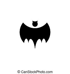 Isolated black color bat vector logo. Night flying animal...