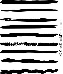 Set of vector brushes - Set of nine vector brushes. Vector...