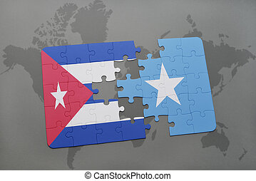 puzzle with the national flag of cuba and somalia on a world...