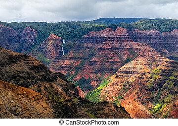 Landscape view of Waimea cayon and Waipoo waterfall, Kauai,...