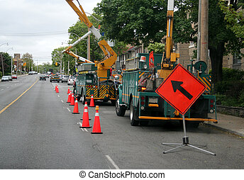 Telephone Poll Workers - The hydro or telephone poll trucks...