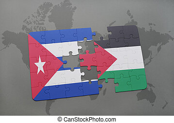 puzzle with the national flag of cuba and palestine on a...