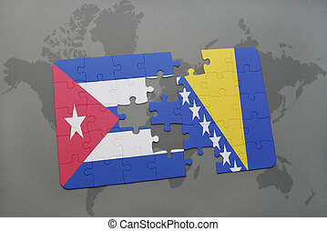 puzzle with the national flag of cuba and bosnia and...