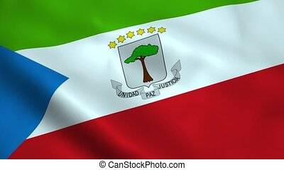 Realistic Equatorial Guinea flag waving in the wind....