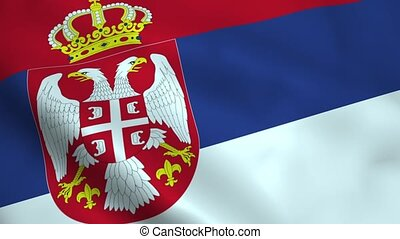 Realistic Serbian flag waving in the wind. Seamless looping.