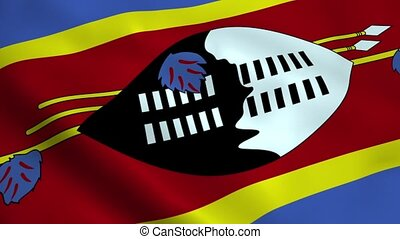 Realistic Swaziland flag waving in the wind. Seamless...