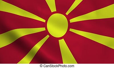 Realistic Macedonia flag waving in the wind. Seamless...