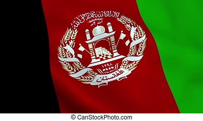 Realistic Afghanistan flag waving in the wind. Seamless...