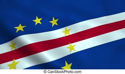Realistic Cape Verde flag waving in the wind. Seamless...
