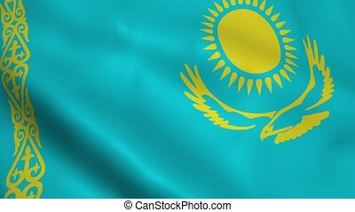 Realistic Kazakhstan flag waving in the wind Seamless...