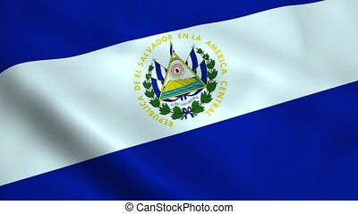 Realistic El Salvador flag waving in the wind. Seamless...